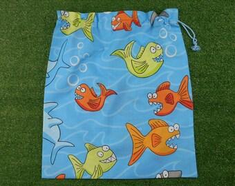 Boys library bag or toy bag, piranhas & sharks drawstring bag, kindy sheet bag