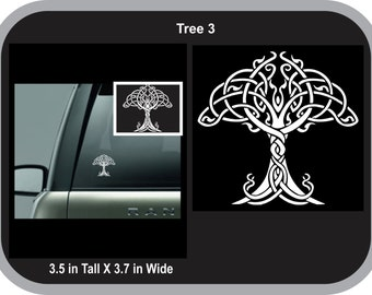 Tree of Life 3 Celtic Norse Viking Vinyl Decal Sticker White