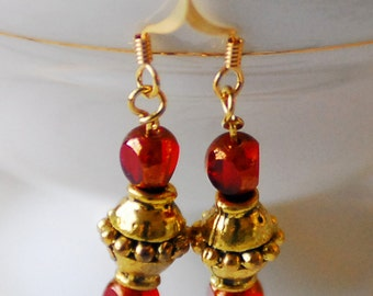 Chinese New Year Gold and Red Earrings, Gold Earrings, Czech Glass Earrings, Small Earrings, Asian Inspired, JewelryFineAndDandy SRAJD