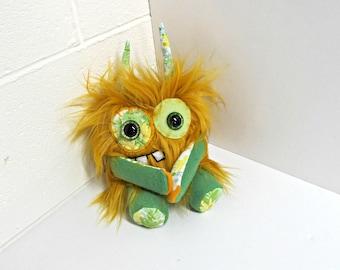 Plush Monster - Handmade Monster Plush - Mustard Yellow Faux Fur Monster - Happy Monster - Weird Cute Plush Toy - Fiber Arts - Embroidered