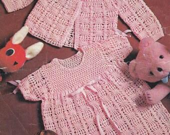 Baby crochet dress pattern matching matinee coat vintage crochet pattern pdf INSTANT download pattern only pdf