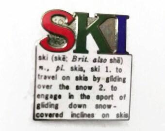 SKI Enamel Pinback Skiing Lapel Pin Tie Tack Hat Pin