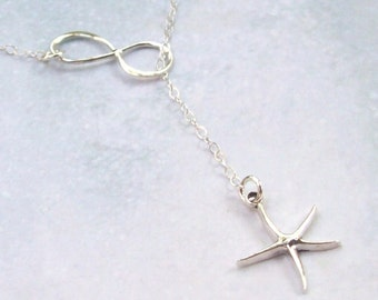 Infinity Starfish Necklace, Infinity Necklace, Lariat Necklace, sterling silver, tropical, spring, bridal jewelry, weddings, infinite love