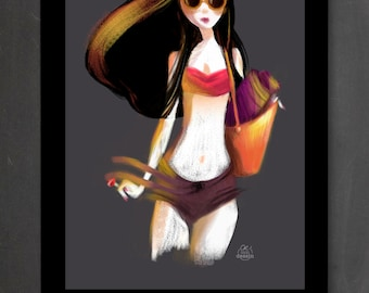 Illustration Poster Yumi wall poster - Illustration A4 (21 x 29, 7 cm) or A3 (29, 7 x 42 cm) the beautiful Yumi