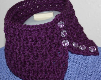 Plum Ripple Neck Warmer Cowl Scarf Crochet Pattern