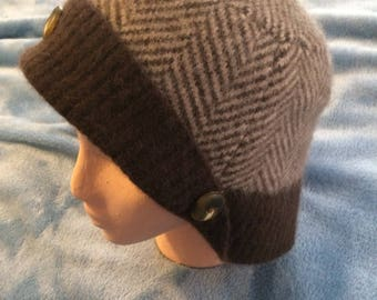 Multi brown felted lambswool womens hat