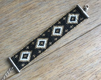 Miyuki black, gold and white Cuff Bracelet