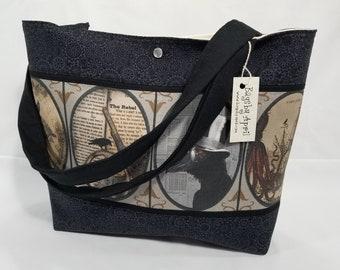 Steampunk Goth Squid Cat Girl Raven Octopus purse tote bag