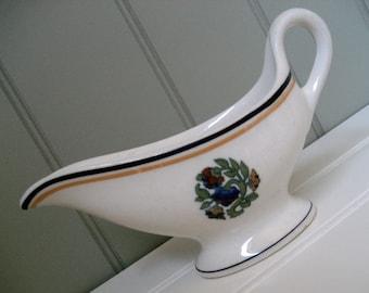 Gravy Boat Syracuse China Floral Gold Blue Pretty Little Server Creamer 92-A  Jan 1963
