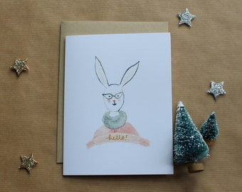 Set of 4 Watercolor Lady Cards - Rabbit, Badger, Bear and Fox
