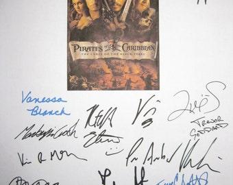 Pirates of the Caribbean Signed Movie Film Screenplay Script X18 Autographs Johnny Depp Keira Knightley Orlando Bloom Geoffrey Rush Pryce