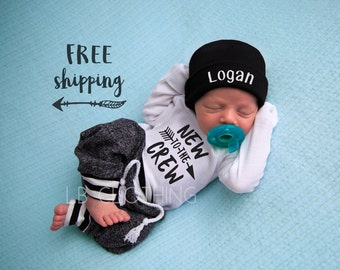 Newborn Boy Coming Home Outfit Baby Boy Take Home Outfit Newborn Outfit Newborn Baby Outfit New to the Crew Outfit Baby Boy