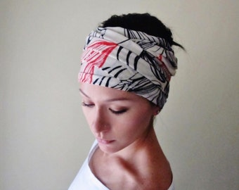 ABSTRACT FLORAL Motif Head Scarf - Botanical Headband, Hair Wrap - Soft Womens Hair Accessories - Red and Black Flowers