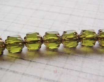 Olive Green Cathedral Beads Czech Glass 6mm Crown 20 Beads