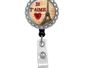I Love Paris Photo Glass / Bottle Cap Retractable ID Badge Reel