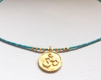 OM 24k Gold Vermeil Turquoise necklace with adjustable clasp