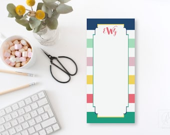 Striped To Do List Notepad, Monogrammed Long Notepad, Personalized To Do List, Gift for Mom, Custom Stationery Pad with Initials, Preppy Pad