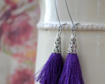 Purple Tassel Earrings, Festival Earrings, Purple Drop Earrings, Tassel Jewellery, Long Tassel Earrings, Boho Tassel Earrings, Purple Gifts