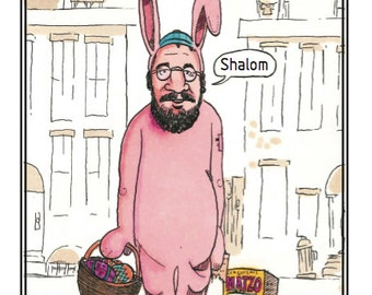 Humorous Jewish Greeting Card featuring the Easter Bernie