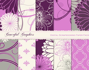 Scrapbook Paper Pack Digital Scrapbooking Background PapersFLOWERS MUMS and HIBISCUS Mauves Gray Pink Plum 10 8.5 x 11 1023gg