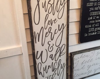 Act justly love mercy and walk humbly with your God...great scripture, large wooden sign, handmade, distressed, wooden frame