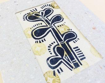 mini linocut - JADE // 5x7 art print // printmaking // block print // blue, green, gold // jade tree // succulent print // miniature, small