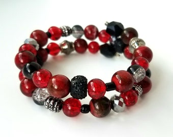 Black and red memory wire bracelet