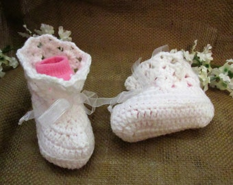 c27  9-12 Months White Hand Made Crocheted  Booties.  Baby Girl Crochet Shoes, Christening Shoes,  Baby Girl Crochet Booties