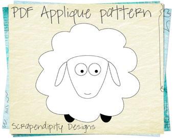 Sheep Applique Pattern - Animal Applique Template / Kids Baby Clothing Applique / Boy Clothing Patterns / Iron on Shirt / Scrapbook AP61-D