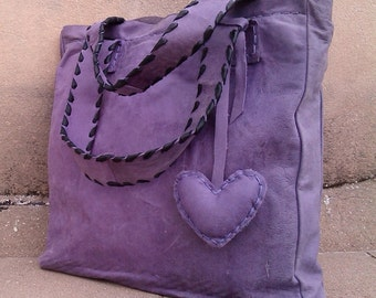Purple Leather Tote Bag, Purple & Black Leather Tote with Heart Pendant, Purple Laced Strap Leather Tote, Purple Heart Pendant Leather Tote