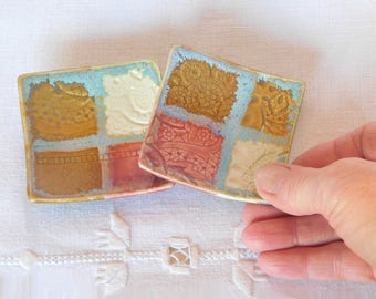 Matched Pair of Ring Dishes, Handmade Porcelain Pottery Square Tiny Plates, Teabag Holders, Wedding Favors, Jewelry Trays, Gold, Red, Yellow