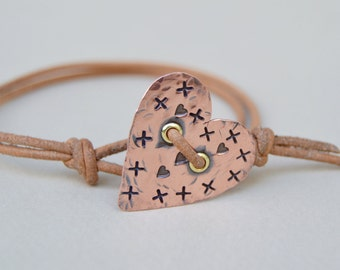 Copper Rustic Heart Leather Bracelet. Hand Stamped. Brass . Cold Connections . Rustic . Earthy . Boho .