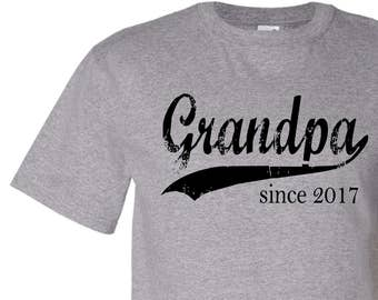 Grandpa since ANY year, personalized shirt, Christmas gift ideas, husband gift, grandpa gift, screen print tshirt, new grandpa gift