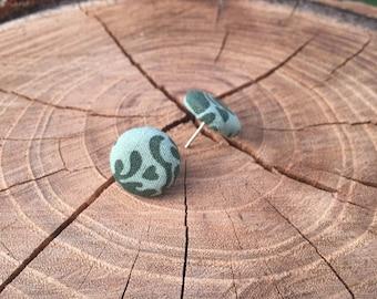 Green design fabric button earrings