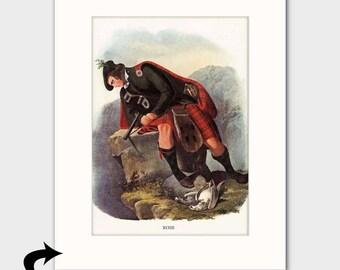 Clan Ross Family Art Print w/Mat (Scottish Hunting Decor, Fathers Day Gift) --- Matted Scotland Art