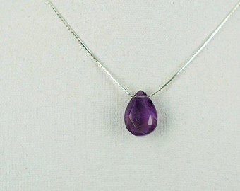 Beautiful Faceted  Purple Amethyst Pendant with Silver Necklace