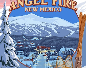Angel Fire, New Mexico - Winter Scenes Montage (Art Prints available in multiple sizes)