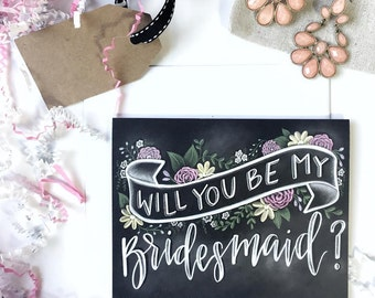 Pack of 4- Will You Be My Bridesmaid Card - Chalkboard Card - Chalk Art- Chalkboard Design- Bridesmaid Gift - Hand Lettered Design
