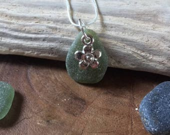 Green sea glass necklace, flower charm, seaglass pendant, jewellery jewelry, Celtic, Gift for Her, Silver plated chain, One of a kind 8