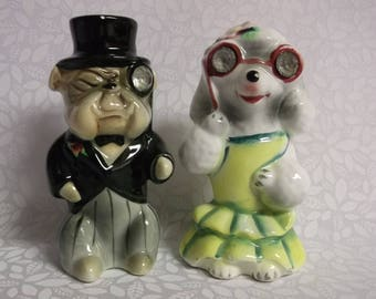 Vintage Enterprise Exclusive Anthropomorphic Bull Dog and Poodle Salt and Pepper Shakers