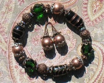 Green and Copper Bracelet and Earring Set
