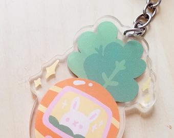 Cute Carrot Tamogotchi-inspired Arlylic Keychain