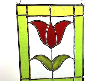Handcrafted Stained Glass Suncatcher Red Tulip Sun Catcher