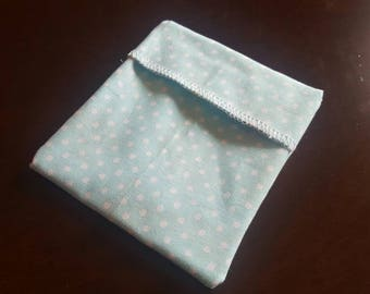 Ready to ship! Pad Wrapper- Turquoise Dot