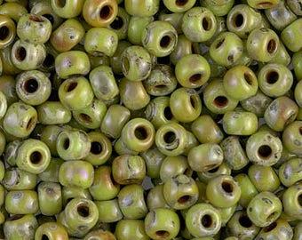 6/0 Chartreuse Picasso Miyuki Seed Beads - 16 grams - 756 - Miyuki 6-4515 Chartreuse Picasso