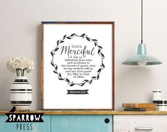 Bible Verse Wall Art, God Is Merciful, Hebrews 4:16, Scripture Art, Scripture Print, Bible Verse Art, Bible Verse Print, Digital Download