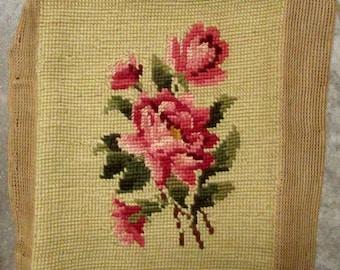 Vintage Needlepoint, Pink Roses, Craft Supply
