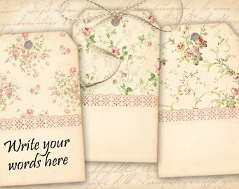 Printable shabby gift tags on Digital collage sheet French shabby roses Printable download Paper goods Vintage images - SHABBY TAGS