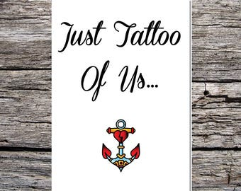valentine's day card, anniversary card, tattoo card, card for him, card for her, tattoo theme card, just the two of us, anchor tattoo
