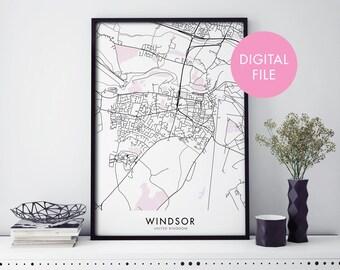 Windsor, UK United Kingdom City Map Print Wall Art | Print At Home | Digital Download File
